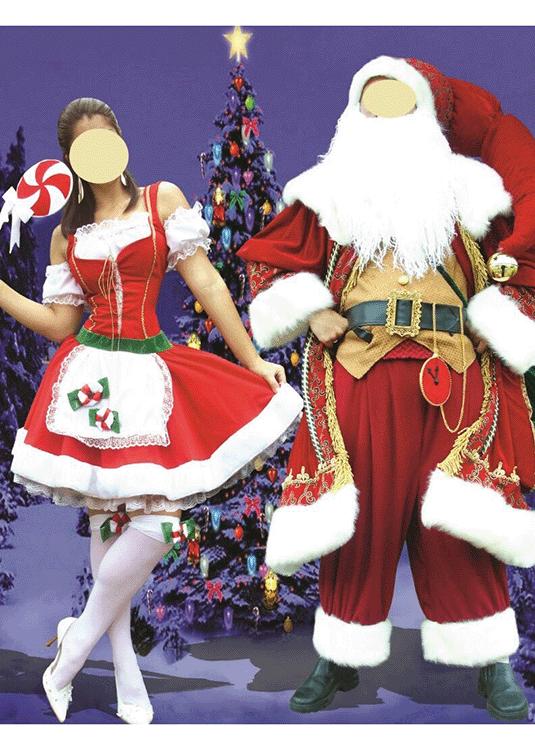 Casal Miss e Santa Claus – Papai Noel – Personagem – Adulto