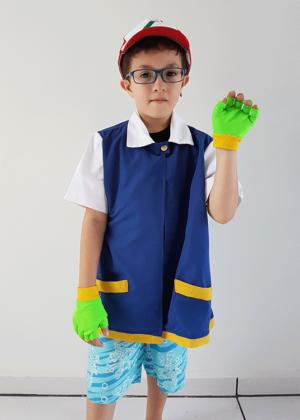Ash Pokemon – Personagem – Masculino – Infantil – Azul