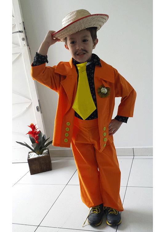 Caipiria Luxo – Junino – Masculino – Infantil – Laranja